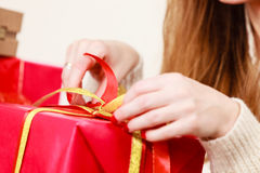 Female hands with red gift box Stock Image