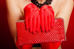 Female hands in red gloves holding a red clutch Royalty Free Stock Image