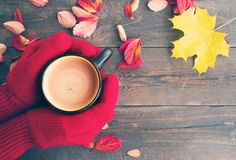 Female hands in red knitted mittens and a cup of coffee with milk on a wooden board with bright autumn leaves Stock Photo