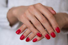 Female hands with red nails. On a white background Stock Photos