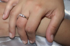 Female hands with rings Stock Photo