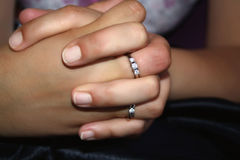 Female hands with rings Royalty Free Stock Images
