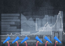 Female hands in a row holding blue paper trumpets against graphs background Stock Photography