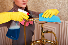 Female hands in rubber gloves cleans bathroom Royalty Free Stock Photography