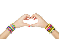 Female hands in shape of heart Stock Photo
