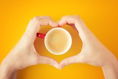 Female hands in the shape of heart holding a cup of coffee royalty free stock images
