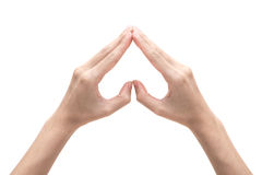 Female hands shaping a heart symbol on white background royalty free stock images