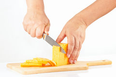 Female hands sliced cheese on a cutting board Stock Images