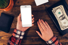 Female hands with smartphone, e-business concept Stock Photography
