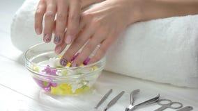 female hands spa επεξεργασία απόθεμα βίντεο