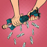Female hands squeeze men money Royalty Free Stock Images