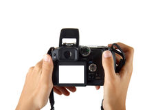 Female hands taking picture with digital camera Stock Photo