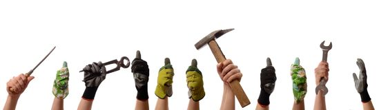 Female hands with tools royalty free stock photography