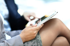 Female hands touching digital tablet Royalty Free Stock Photo