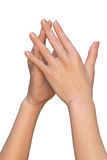 Female hands are touching with finger tips Royalty Free Stock Images