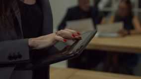 Female hands touching screen of digital tablet stock video footage