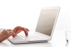 Female hands typing Stock Image