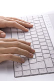 Female Hands Typing Stock Photography