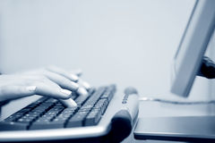 Female hands typing. Royalty Free Stock Photos