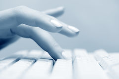 Female hand typing on computer keyboard Stock Image