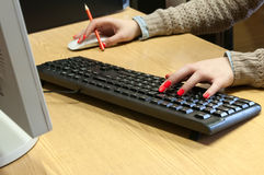 Female hands typing Royalty Free Stock Photo