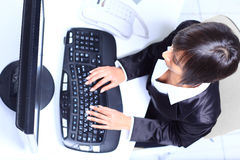 Female hands typing on computer. Keyboard stock images