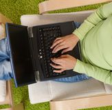 Female hands typing on computer keyboard Stock Images
