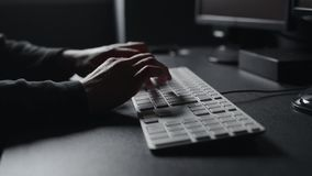 Female hands typing computer keyboard. Using desktop computer. Royalty Free Stock Photography