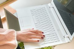 Female hands typing on keyboard Royalty Free Stock Photography