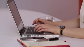 Female hands typing on laptop in the office stock video footage