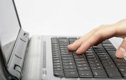 Female hands typing a text royalty free stock photography