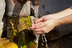 Female hands under the column  of water from the source Stock Photos