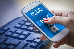 Free Female Hands Using A Smartphone With Secure Payment On Screen. Stock Photo - 111660730