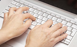 Female hands using computer Royalty Free Stock Image