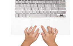 Female hands using laptop. business girl using touchpad on white Stock Photos