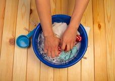 Female hands washing Stock Photo