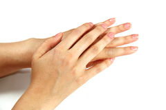 Female hands on white Royalty Free Stock Image