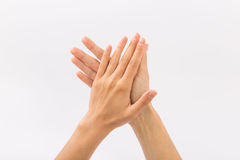 Female hands on a white background. Gestures.  Royalty Free Stock Photo
