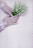 Female hands in white gloves Royalty Free Stock Image