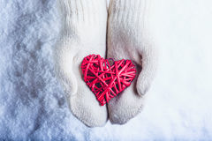 Female hands in white knitted mittens with entwined vintage romantic red heart on snow background. Love and St. Valentine concept Royalty Free Stock Photos