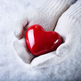 Female hands in white knitted mittens with a glossy red heart on a snow background.  Love and St. Valentine concept Stock Images