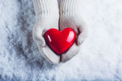Female hands in white knitted mittens with a glossy red heart on a snow background. Love and St. Valentine concept. Royalty Free Stock Images