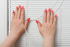 Female hands whith manicure and blinds at window Stock Photo