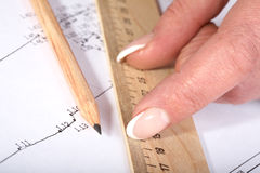 Free Female Hands With A Ruler And  Pencil Stock Photography - 11723442