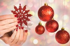 Female Hands With Professional Holiday Red And Silver Manicure Royalty Free Stock Photo