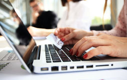 Female hands or woman office worker typing on keyboard Royalty Free Stock Image