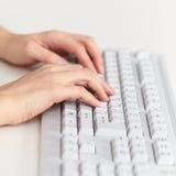 Female hands work on computer keyboard. Female hands work on the computer keyboard close up stock photo