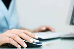 Female hands working. Royalty Free Stock Images