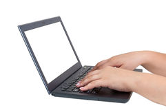 Female hands working on laptop Royalty Free Stock Photo