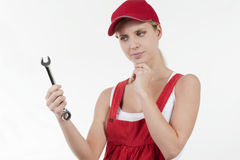 Female handworker with spanner Royalty Free Stock Photography